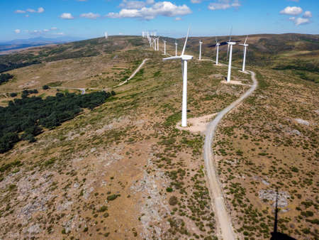 Aerial view of wind turbines for power generation