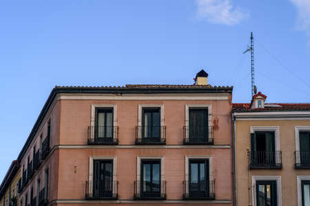 Facade of old residential building in Madrid Standard-Bild