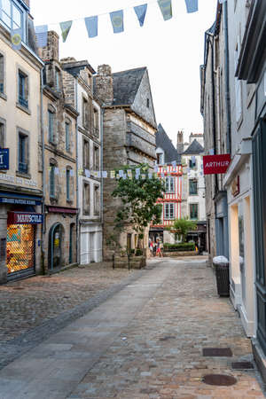 Empty commercial street amidst old buildings in the centre of Quimper