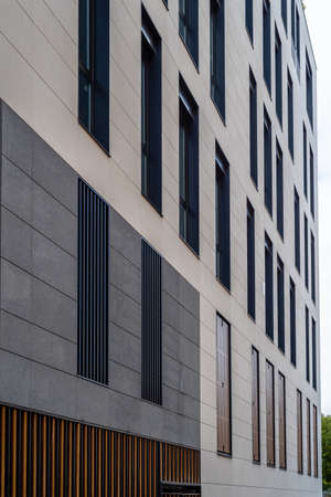 New residential building with stone ventilated facade