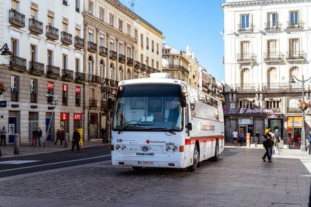 Blood donation bus in Puerta del Sol, Madrid
