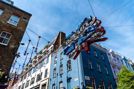 View of Carnaby Street led sign in Soho in London