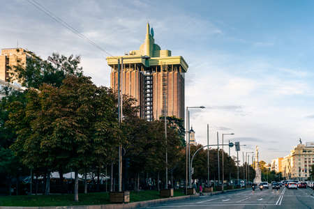 Castellana Avenue and Towers of Colon in Madrid Editorial