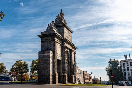 View of Puerta de Toledo monument in central Madrid