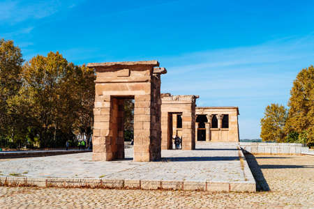 Temple of Debod in Madrid in in a beautiful blue sky day
