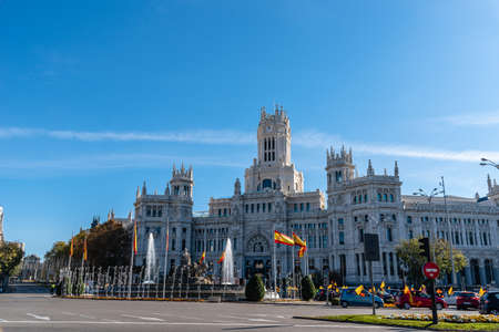 Cibeles Square in Madrid a sunny day with bright blue sky Editorial