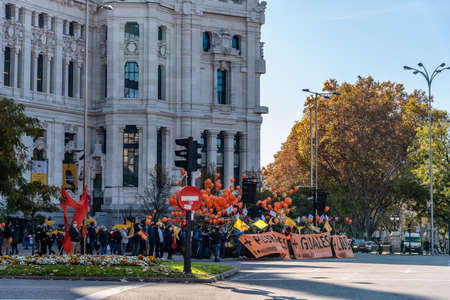 Cibeles Square in Madrid during demonstration against New Education Law