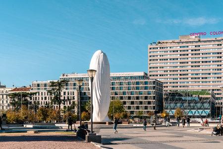 Plaza de Colon or Columbus Square in central Madrid Editorial