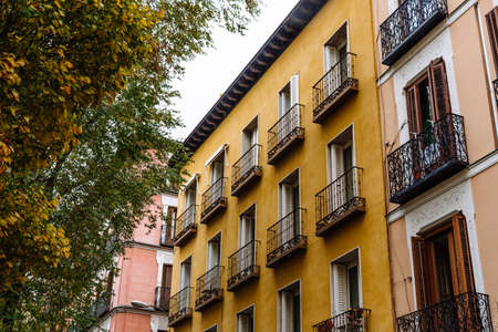 Old residential buildings in central Madrid, Malasana