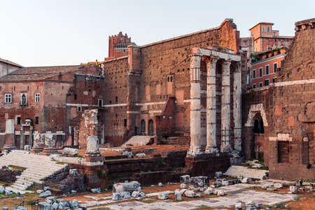 Forum of Augustus and Nerva in Rome at sunset