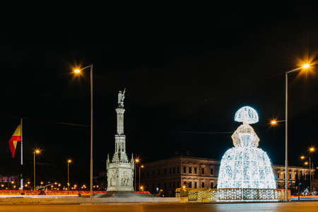 Square of Colon in Madrid with Menina of Velazquez figure lluminated at Christmas