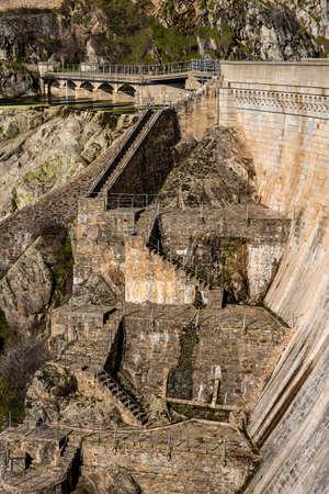 View of the dam of El VIllar a sunny day in Madrid, Spain Foto de archivo