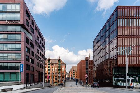 Street scene in Hafencity area of Hamburg Redactioneel