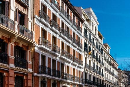 Old luxury residential buildings with balconies in Madrid