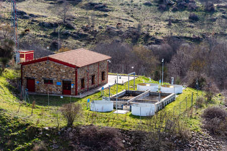 Small sewage treatment plant in countryside Stockfoto