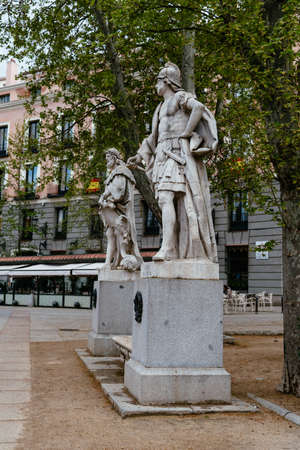 Statues of Historic Spanish Kings in Plaza de Oriente of Madrid