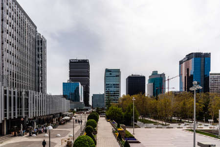 AZCA financial district with office buildings in Madrid Editorial