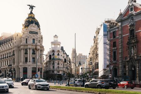 Gran Via and Alcala Street cross in Madrid