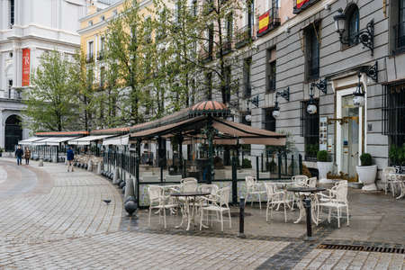 Cosy and Beautiful Restaurant in Plaza of Oriente in Historic Centre of Madrid Editorial