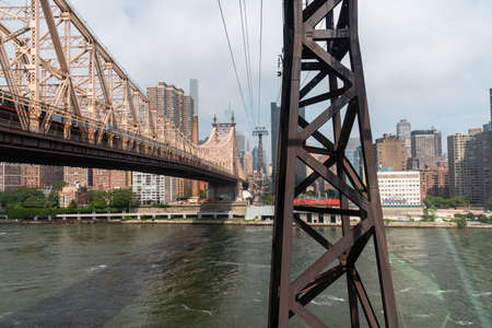 The Roosevelt Island Tramway and Upper East Side in New York