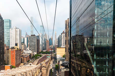 Mesmerizing View of New York City from The Roosevelt Island Tramway Editorial