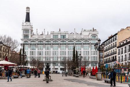 Scenic View of Square of Santa Ana in Historic Centre of Madrid