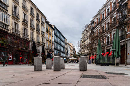 Scenic View of Square of del Angel in Historic Centre of Madrid