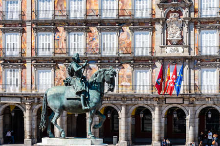Equestrian Statue of King Philip III of Spain in Plaza Mayor Square in central Madrid