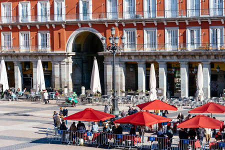 Coins and Stamps Collectors Market in Plaza Mayor Square in Madrid Editorial