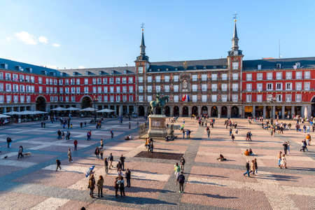 Plaza Mayor Square in Madrid. High Angle View