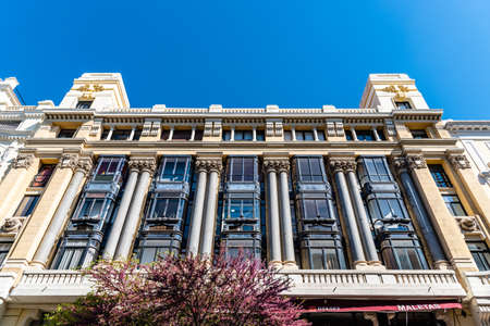Low Angle View of Old Office Building in Mayor Street in Central Madrid Editorial