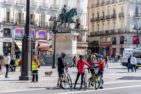 Cyclists Standing in Puerta del Sol Square in Central Madrid