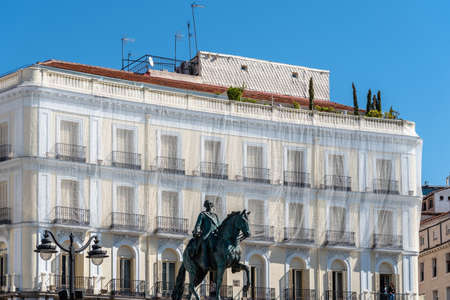 Low Angle View of The Statue of the Spanish King Charles III in Puerta del Sol Square in Central Madrid Editorial