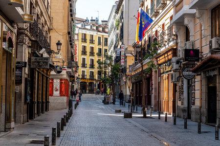 Victoria Street Near Puerta del Sol Square in Central Madrid Editorial