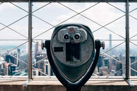Old Binoculars Against Cityscape of New York Stock fotó