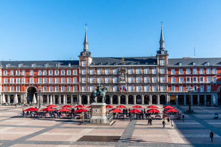 Coins and Stamps Collectors Market in Plaza Mayor Square in Madrid