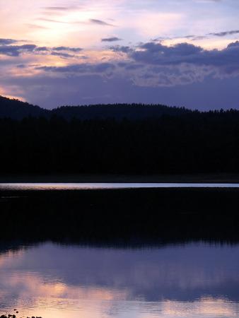 ponderosa pine: sunset over dogtown lake 3- williams, az Stock Photo