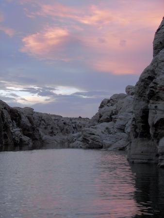 sunset in clear creek reservoir - winslow, az