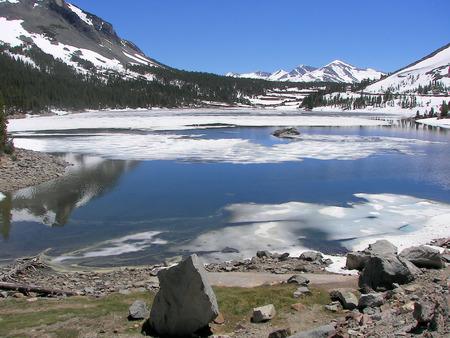 np: tioga pass ice in june - yosemite np