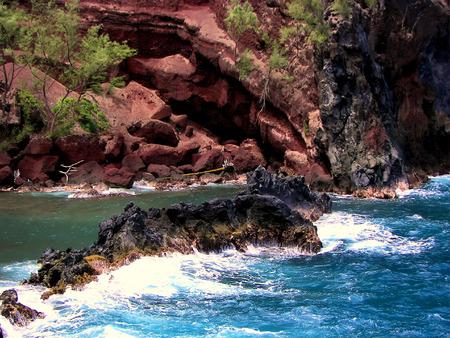 breakers at red sand beach - hana, maui Stock Photo - 1676908