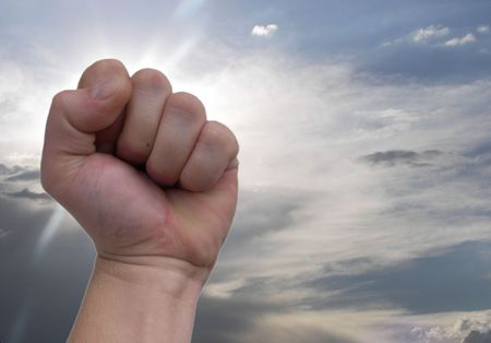 intangible: shaking fist at the sky Stock Photo