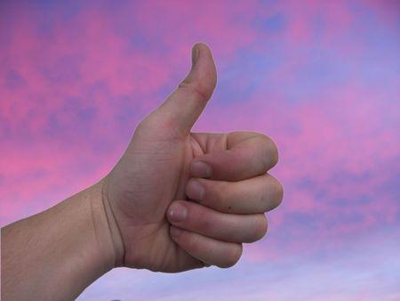 thumbs up sunset Stock Photo - 2019363