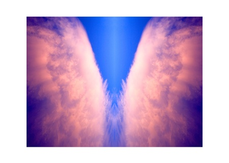 angels wings: saintly sunset angel wings Stock Photo
