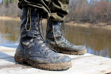 Footwear designed for outdoor activities and extreme sports. Stockfoto