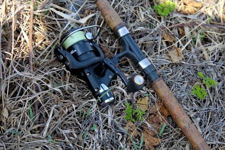 Spinning gear designed to catch predatory fish. Stockfoto