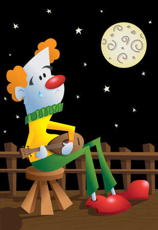 luna: Clown In Love WIth The Moon Illustration