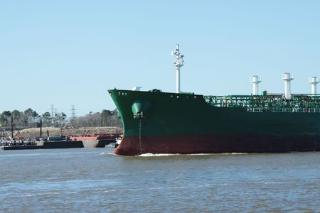 houston: Oil Tanker entering the Houston Ship channel Stock Photo