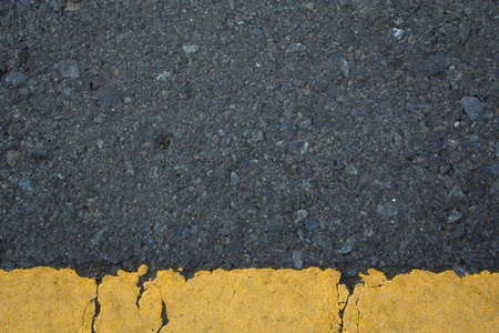 Asphalt road texture with below yellow stripe  photo