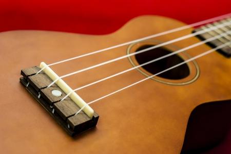 Vintage ukulele on red background photo