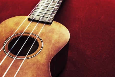 grunge image of ukulele on a vintage background photo